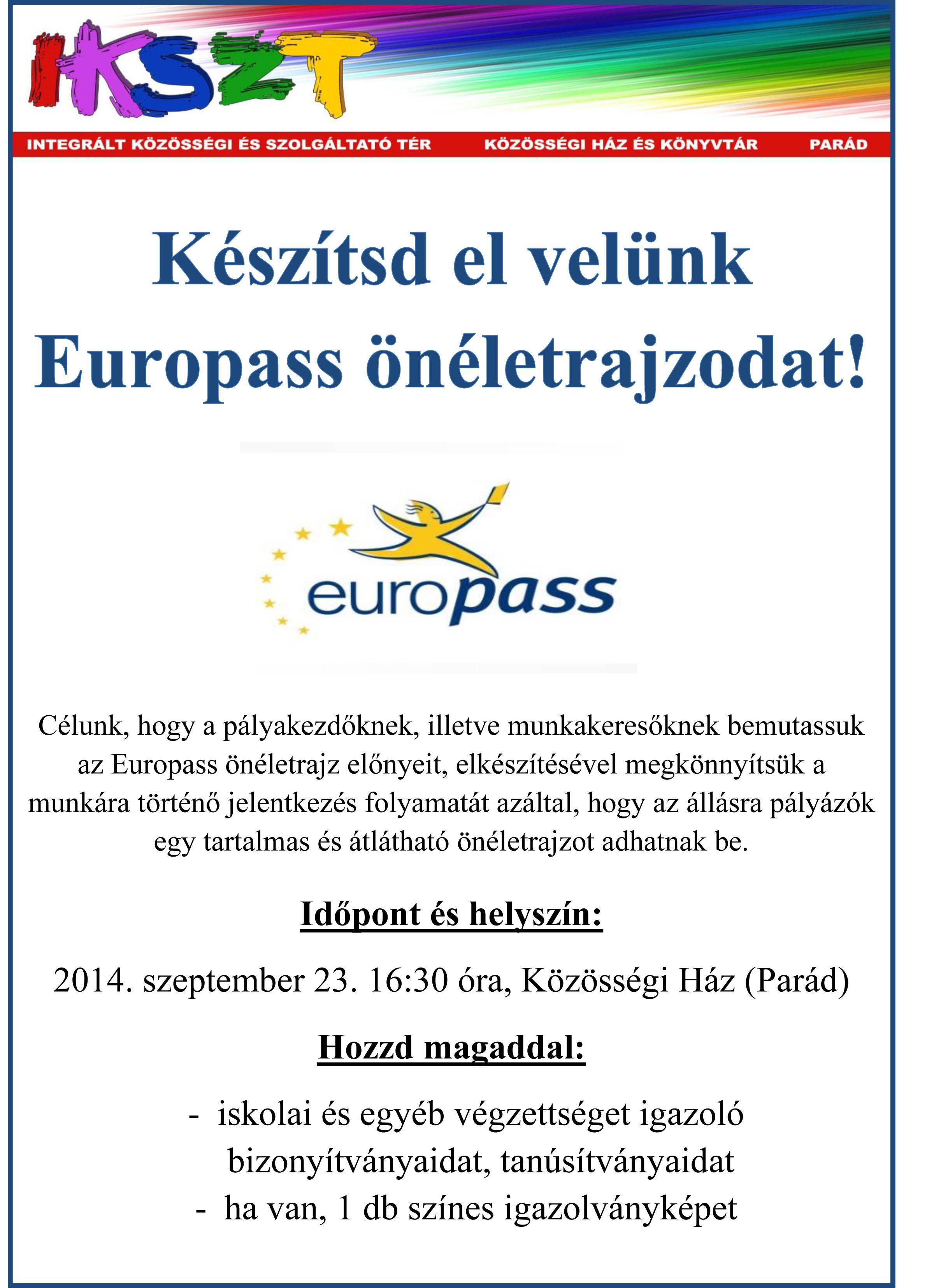 Europass önéletrajz - plakát